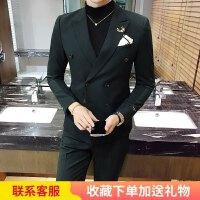 韩版修身男士小西装时尚西服两件套新郎结婚礼服商务职业正装青年