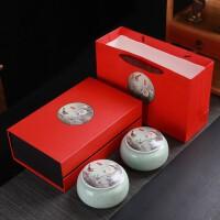 高档陶瓷茶叶罐双罐礼盒套装礼品定制密封罐子红茶创意存茶罐茶叶罐