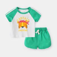 婴儿休闲套装夏天短袖衣服男婴幼儿短裤夏季可爱女宝宝两件套夏装