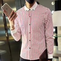 秋冬装长袖衬衫工服村杉忖红条纹寸衫男士衬衣修身咖啡店餐厅工装