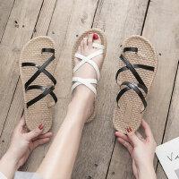 时尚女士一字扣凉鞋 韩版软底学生凉鞋女 新款chin防滑沙滩罗马鞋女士平底凉鞋女