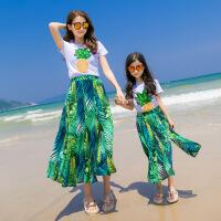 亲子装夏装2017新款潮全家装海边度假时尚套装女童半身长裙沙滩装