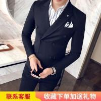 秋款男士休闲西服韩版修身双排扣小西装外套男商务英伦单西男潮流