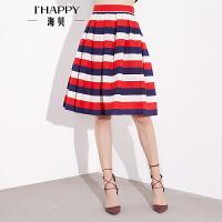 【2件5折】【8.9上新】海贝春装半身裙时尚撞色短裙横条纹高腰挺括中裙