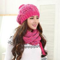 韩版帽子女款加厚保暖女帽子时尚可爱女士帽子围巾两件套装