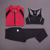 秋冬运动健身套装女 跑步瑜伽服三件套户外排汗速干衣长袖长裤女