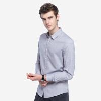 骆驼男装 秋季新款青年时尚修身纯色色织尖领休闲长袖衬衫男