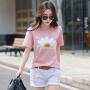 Coolmuch女士夏季简约百搭纯色印花小雏菊圆领短袖T恤衫ZRY9960