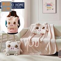 家纺办公室车载珊瑚绒披肩毯罗莱生活出品床品抱枕盖毯毛毯子定制