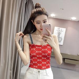 【班图诗妮】2018夏装新款针织背心衫修身拼色短款打底百搭外穿性感上衣