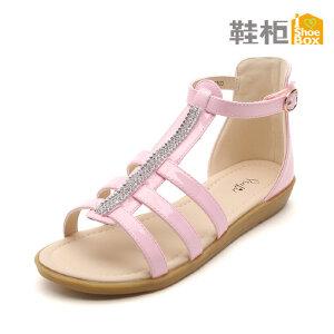 SHOEBOX/鞋柜 夏季新款魔术贴女童鞋 甜美可爱 包跟水钻女童凉鞋