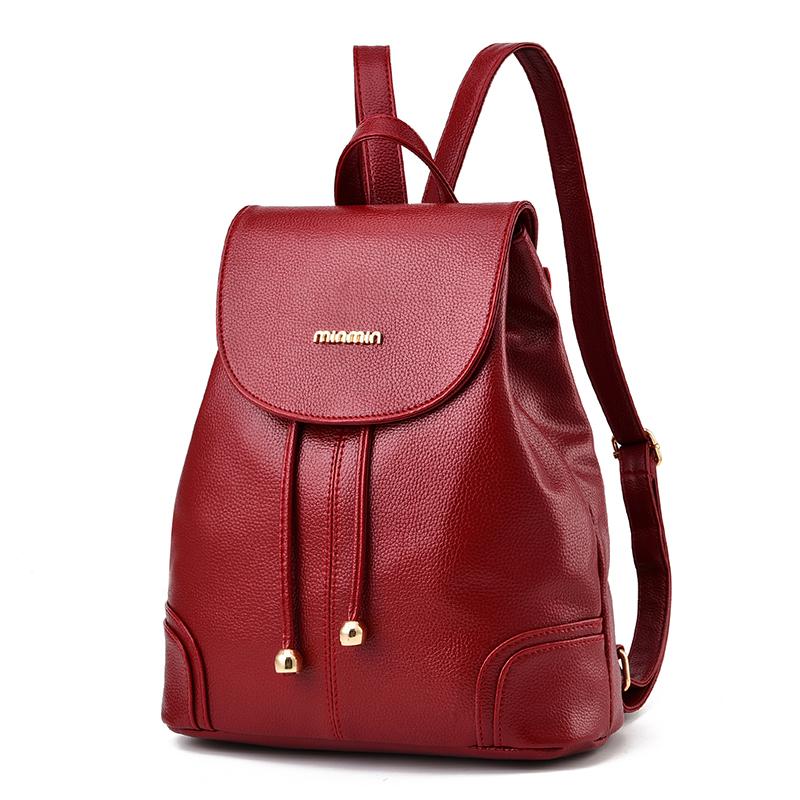 软皮百搭背包包女士双肩包女真皮质日韩版时尚潮简约学生牛皮书包 酒红色 双肩包
