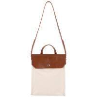 包包女2018春季新款小众设计款简约气质帆布拼接手提单肩文件大包 棕+白 现货