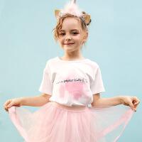 小猪班纳童装女童短袖T恤卡通2020春夏新款儿童圆领短袖衫中大童