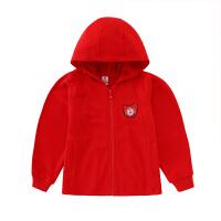 【2件5.5折价:131】小猪班纳童装女童连帽外套2020年款儿童红色休闲拉链衫卡通上衣