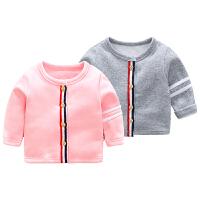 婴儿秋装宝宝t恤女童长袖加绒打底衫0岁3个月8新生儿上衣秋季冬装