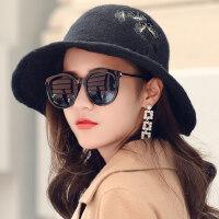 韩版学生时尚英伦礼帽羊毛盆帽帽子女潮人休闲百搭渔夫帽