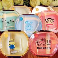 凯蒂猫圆形透明便携便当盒卡通可爱分格学生儿童宝宝保鲜水果饭盒