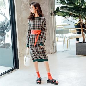 七格格港味复古chic格纹裙子2018新款女装连衣裙韩版时尚显瘦中长款