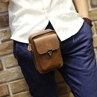 新款手机包韩版男士腰包皮质小包户外休闲迷你挂包疯马皮烟包挂包 咖啡色 全场满2件送手包