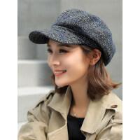 英伦时尚休闲百搭条纹女士帽子女韩版鸭舌贝雷帽