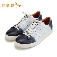 红蜻蜓男鞋春季新款韩式简约防滑系带单鞋男运动板鞋