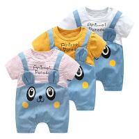 婴儿3个月春季短袖1岁宝宝薄款平角哈衣新生儿外出衣服潮款