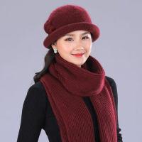 中老年人针织毛线帽女 新款兔毛帽子女加绒保暖妈妈帽子 老人防寒奶奶帽