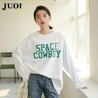 长袖t恤女秋装2018新款韩版宽松英文字母印花打底衫学生简约上衣
