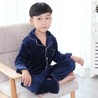 秋冬季儿童法兰绒睡衣小童男孩珊瑚绒家居服宝宝绒睡衣套装加厚款