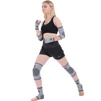 竹炭运动护具套装空调房篮球羽毛球护膝护腕护肘护踝护掌男女 五件套 均码灰色一副两只装