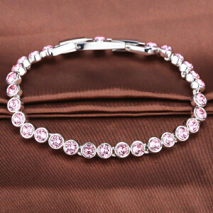 施华洛世奇Swarovski代购正品粉色�W亮水晶手链-1179711