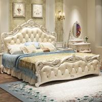 床现代简约田园欧式米欧式床实木公主床家具套装组合卧室 1800mm*2000mm 箱框结构