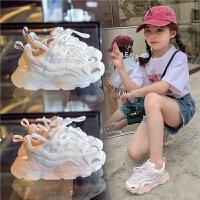 女童运动鞋夏季儿童网鞋透气网面男童老爹鞋小白春夏鞋子