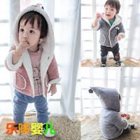 婴儿冬季棉袄加绒男女宝宝新生儿上衣冬装韩版连帽外出服0-1岁潮