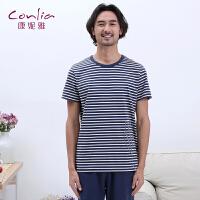 【便服】康妮雅睡衣男士夏季条纹宽松舒服短袖五分裤家居服套装