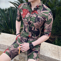 夏季潮男英伦休闲印花中袖衬衫男士休闲短裤套装发型师夜场工作服