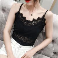 睫毛花边蕾丝吊带背心女夏季性感V领新款打底衫内搭外穿上衣修身