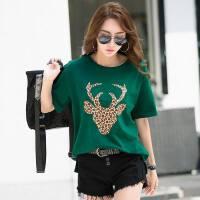 夏季新款韩版宽松短袖T恤女大码显瘦豹纹白色短袖网红ins潮