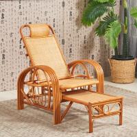 真藤躺椅睡椅沙滩椅折叠藤编靠背椅午休藤椅套件休闲椅老人椅家用 +坐垫