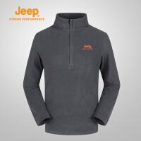 【全场2.5折起】Jeep/吉普 秋冬男士户外抓绒衣开衫外套单穿夹克J662011349