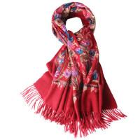 时尚新款刺绣民族风枣红色厚披肩两用冬季羊毛羊绒围巾