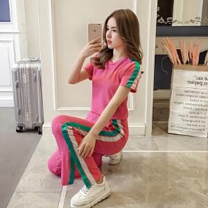 时尚运动套装女2018新款夏季韩版短袖T恤女休闲阔腿长裤两件套潮
