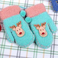 冬季保暖加厚挂脖宝宝手套女款5-11岁可爱儿童手套男孩子