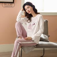 轩之婷 春款睡衣女纯棉长袖2020新款甜美可爱套头两件套装全棉家居服春季