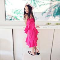 儿童沙滩裙海边度假女童雪纺连衣裙母女夏装波西米亚漏背吊带长裙