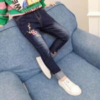 女童牛仔裤韩版洋气裤子秋季女孩小脚裤修身铅笔裤