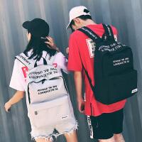 韩版旅行双肩包男高中学生书包男时尚潮流大学生帆布刺绣电脑背包SN3115 49黑色