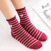 袜子 【五双装】女士爱心条纹中筒袜219冬季女式吸汗五双礼盒装中筒袜女式休闲棉袜
