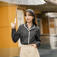 茵曼格子衬衫女冬季新款复古格纹上衣印花绣花花边长袖衬衣【F1804445】